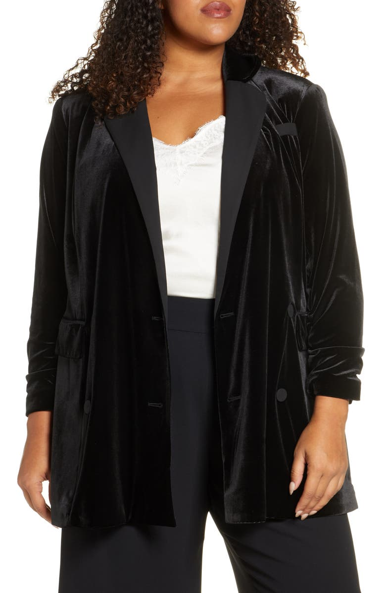 1.STATE Velvet Ruched Sleeve Blazer, Main, color, RICH BLACK