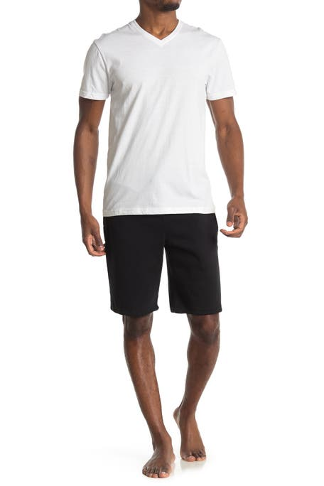 Loungehero - White Tee Black Pocket Shorts Set