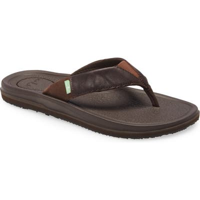 Sanuk Bear Cozy 3 Primo Flip Flop, Brown