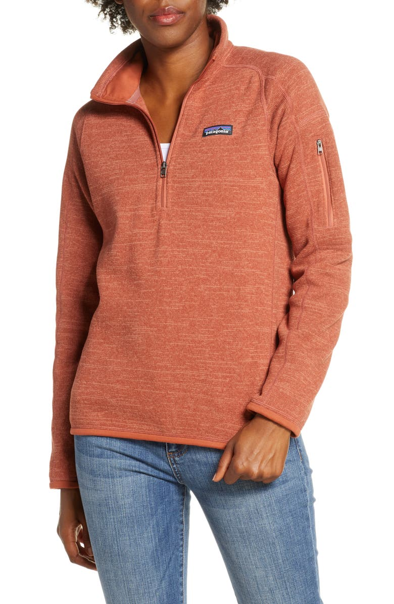 PATAGONIA Better Sweater Quarter Zip Performance Jacket, Main, color, CENTURY PINK