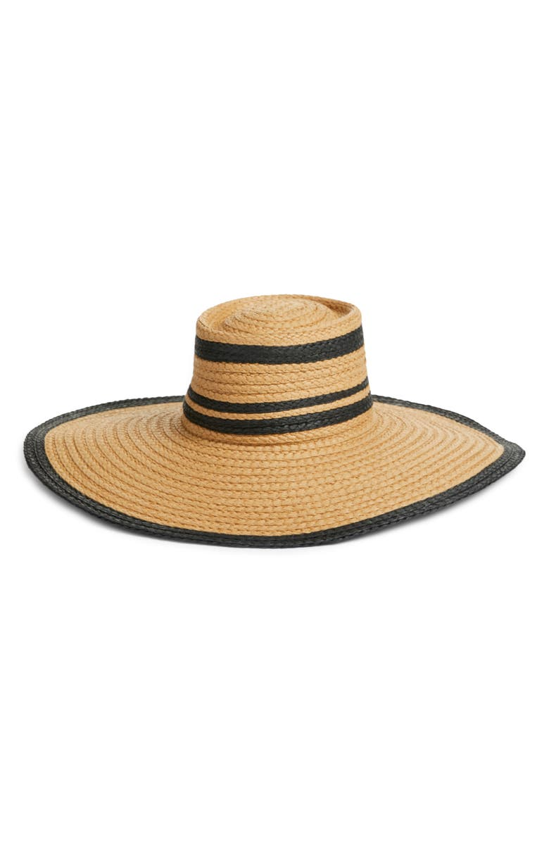 HALOGEN<SUP>®</SUP> Flat Top Floppy Straw Hat, Main, color, NATURAL COMBO