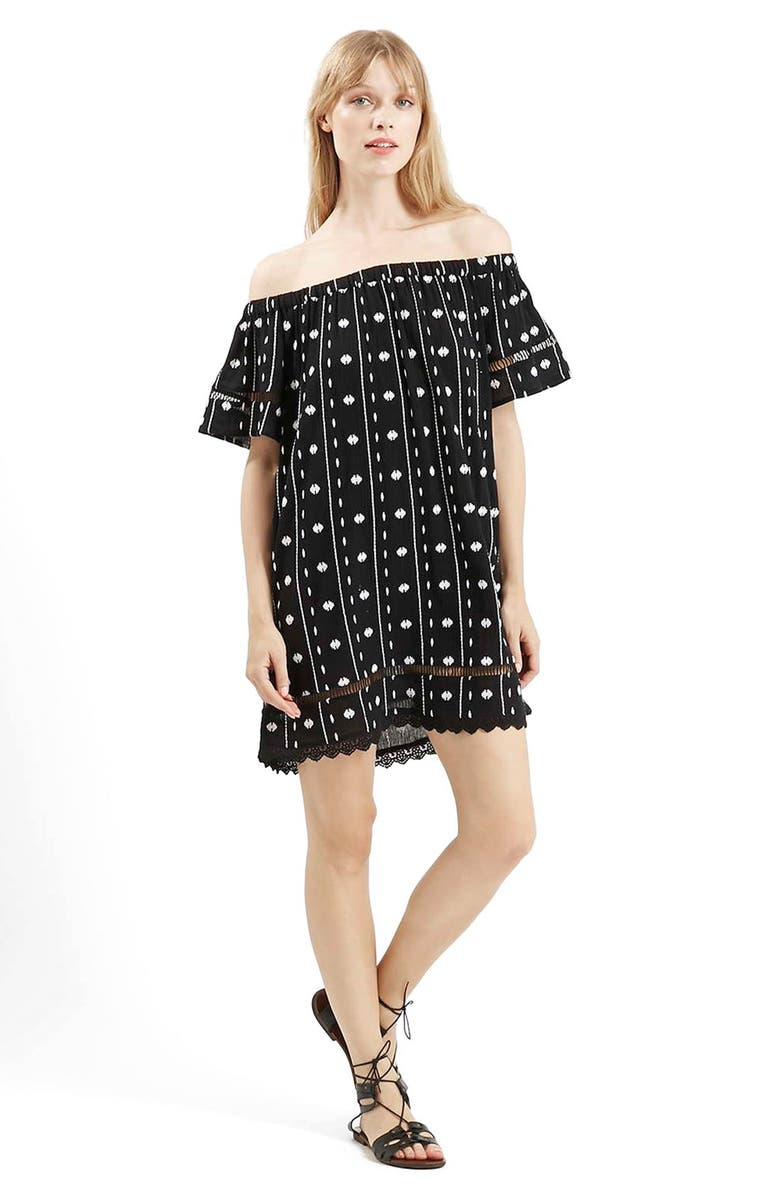 TOPSHOP Embroidered Off the Shoulder Dress, Main, color, 001