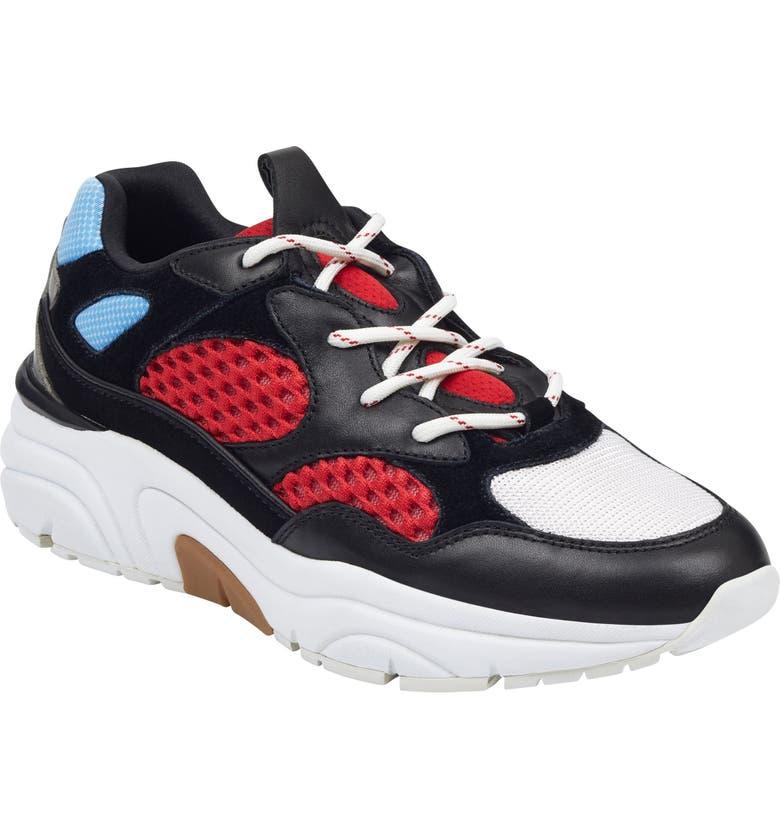 MARC FISHER LTD Nella Sneaker, Main, color, BLACK MULTI FABRIC