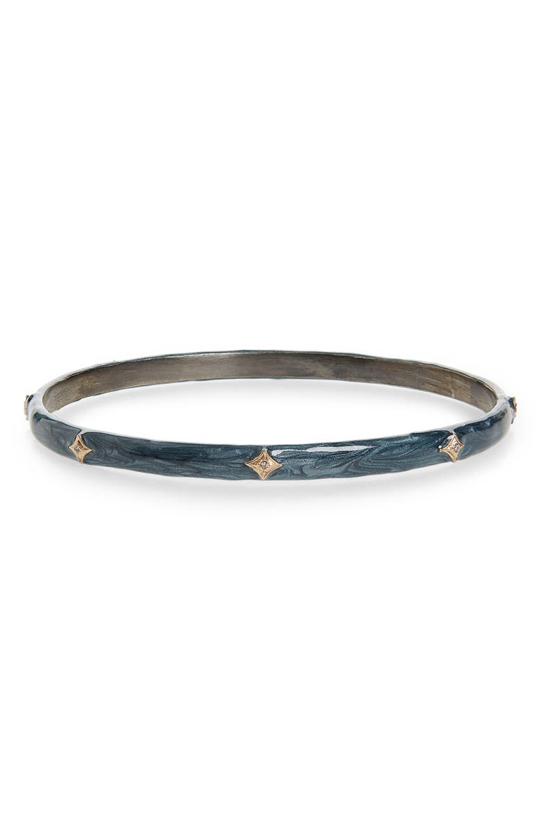 ARMENTA New World Tsunami Enamel Bangle, Main, color, SILVER