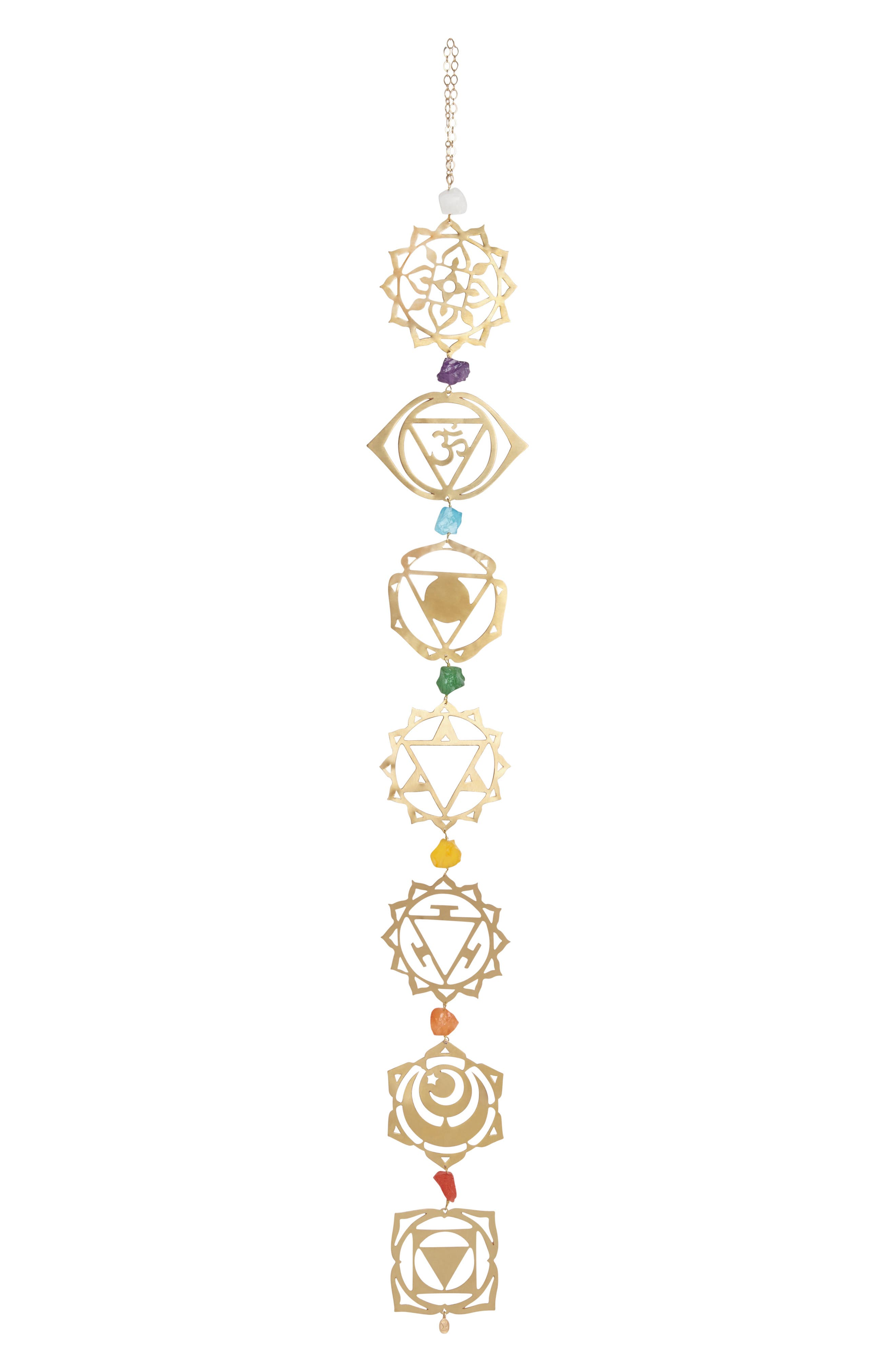 Enhance your home yoga practice or bring harmonious balance to your decor with handcrafted chimes that incorporate the colors and symbols of your chakras. Inspired by ancient traditions of chakra and yoga practice, gazing at the design is meant to heighten your sense of confidence, inspiration and identity. Style Name: Ariana Ost Chakra Yoga Wall Hanging. Style Number: 5747774. Available in stores.