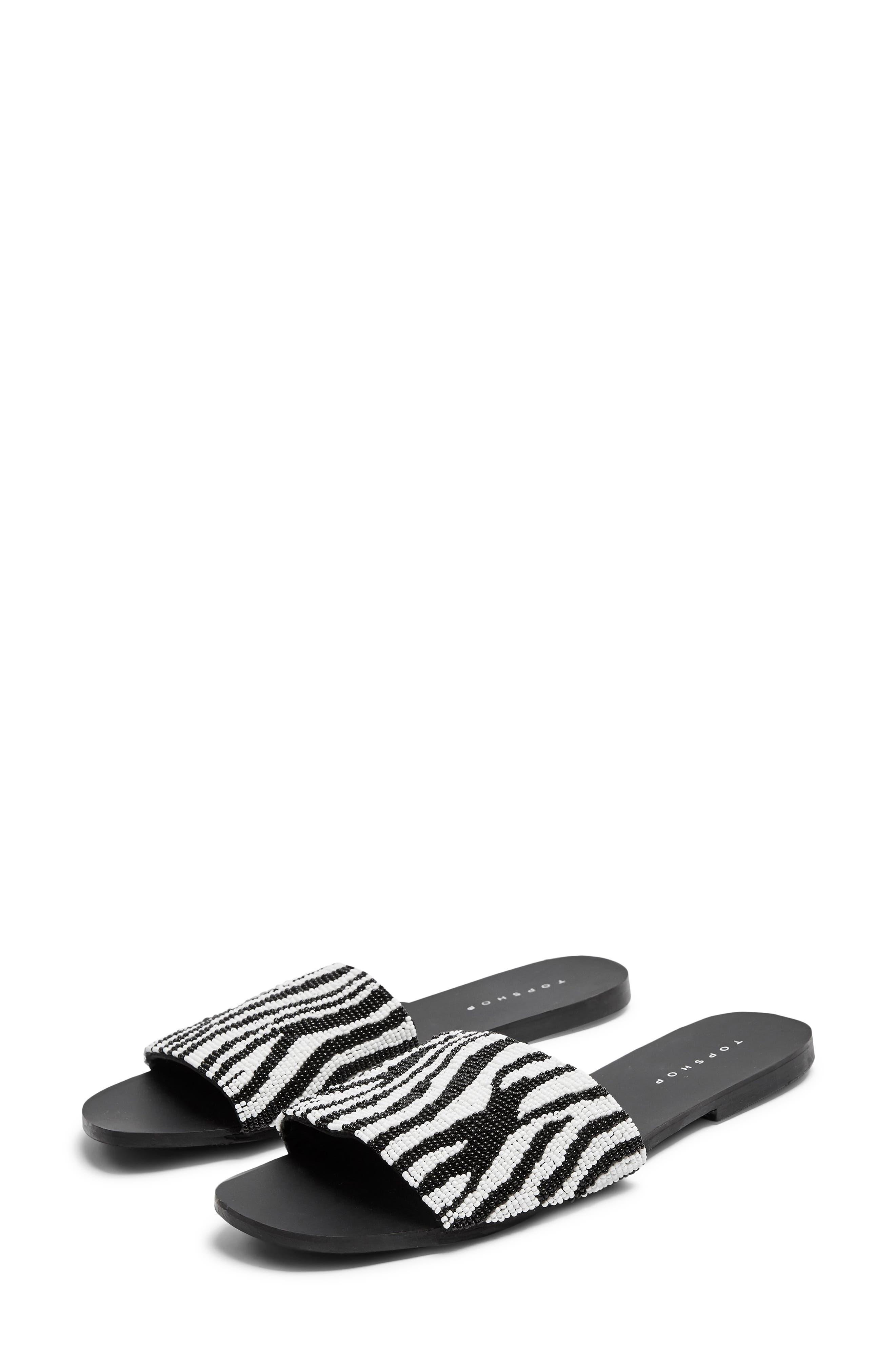 Topshop Beaded Zebra Stripe Slide Sandals - Black