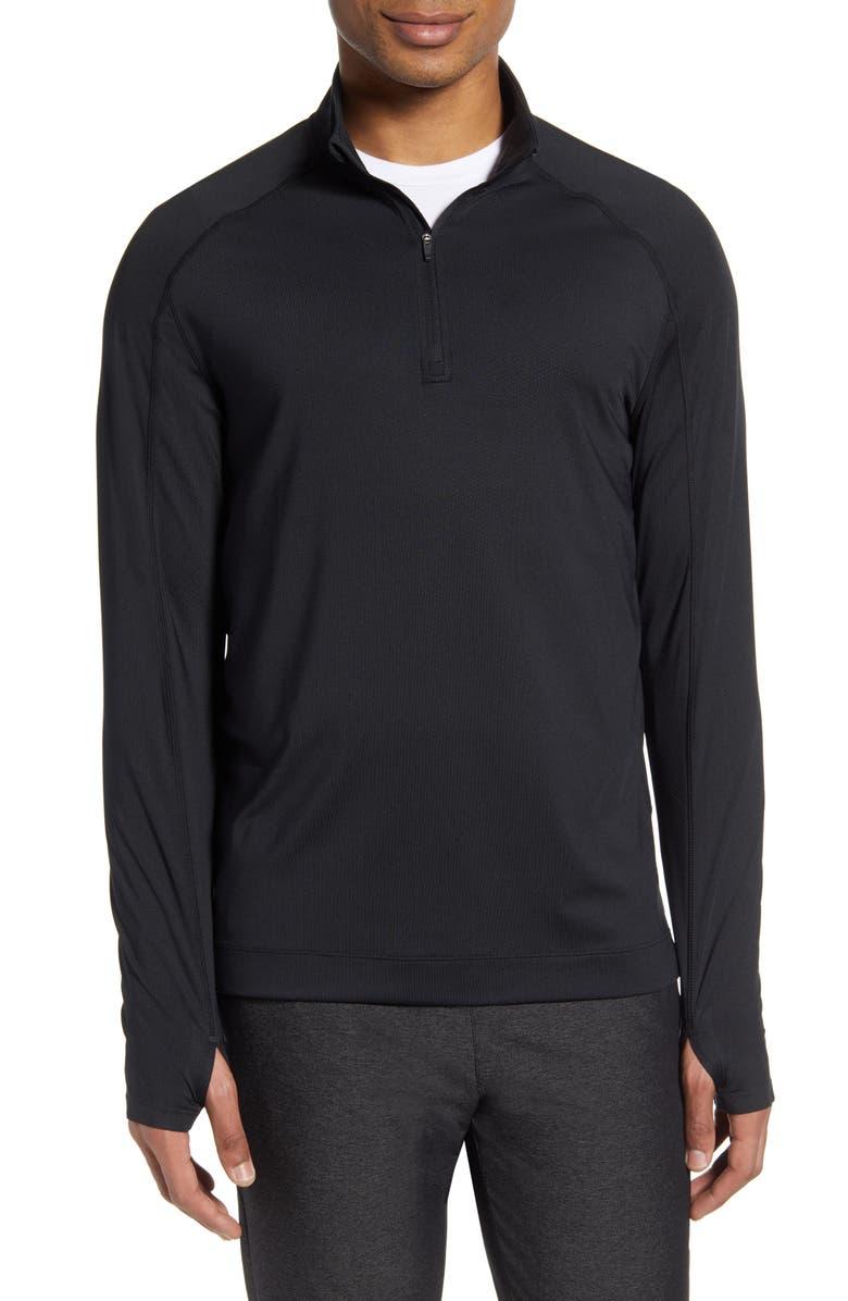 RHONE Quarter-Zip Performance Pullover, Main, color, BLACK