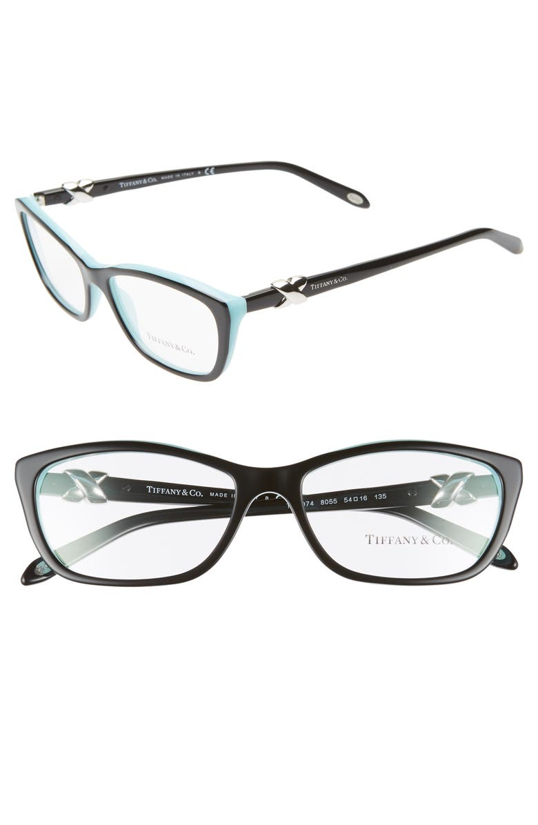 TIFFANY & CO. 54mm Cat Eye Optical Glasses, Main, color, TOP BLACK/ BLUE