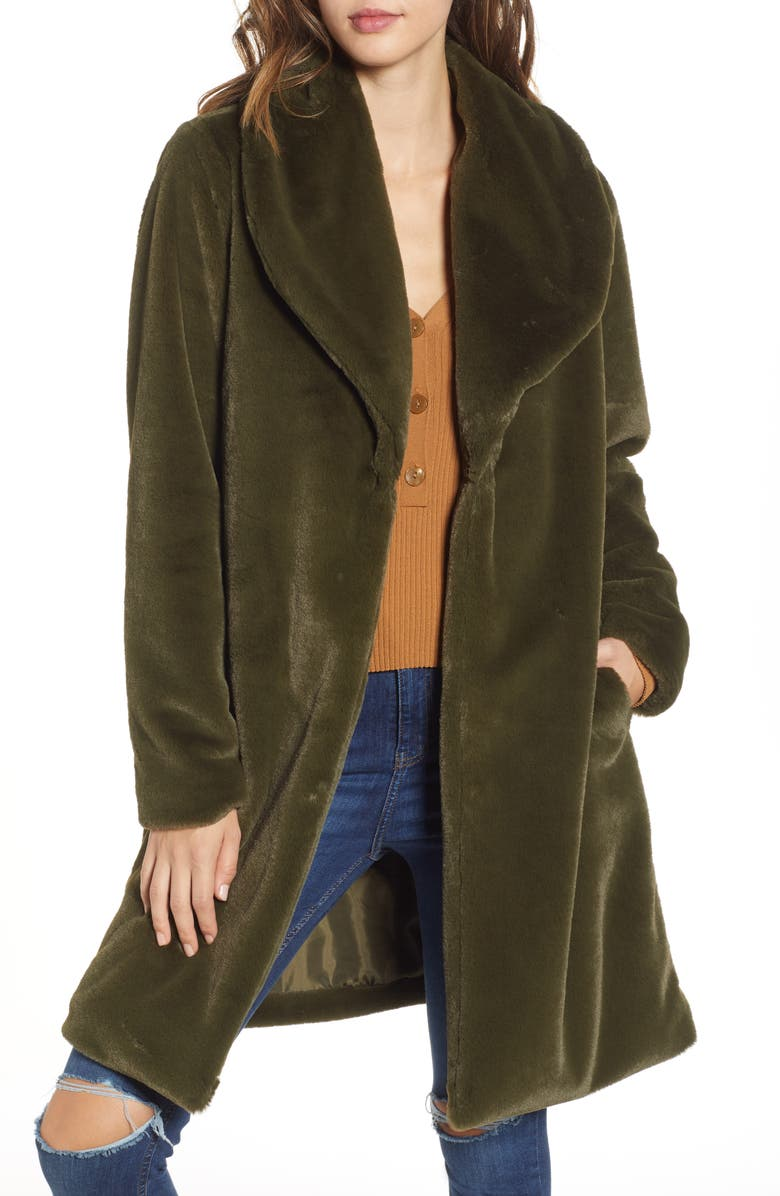 LEITH Faux Fur Long Coat, Main, color, 301