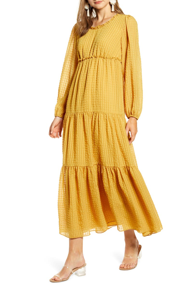 Rachel Parcell Tiered Long Sleeve Maxi Dress Exclusive