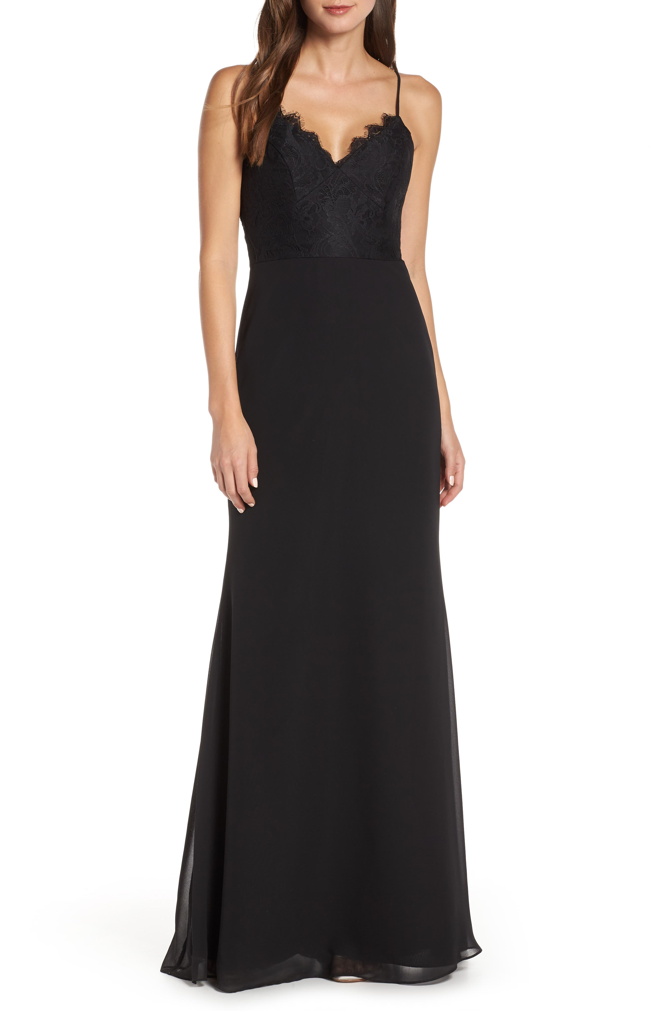 Hayley Paige Occasions Sleeveless Rose Lace & Chiffon Evening Dress, Black