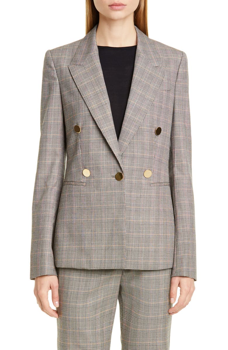 STELLA MCCARTNEY Double Breasted Check Wool Blazer, Main, color, 001