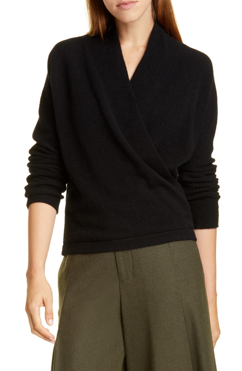 VINCE Wrap Front Long Sleeve Cashmere Sweater, Main, color, 001