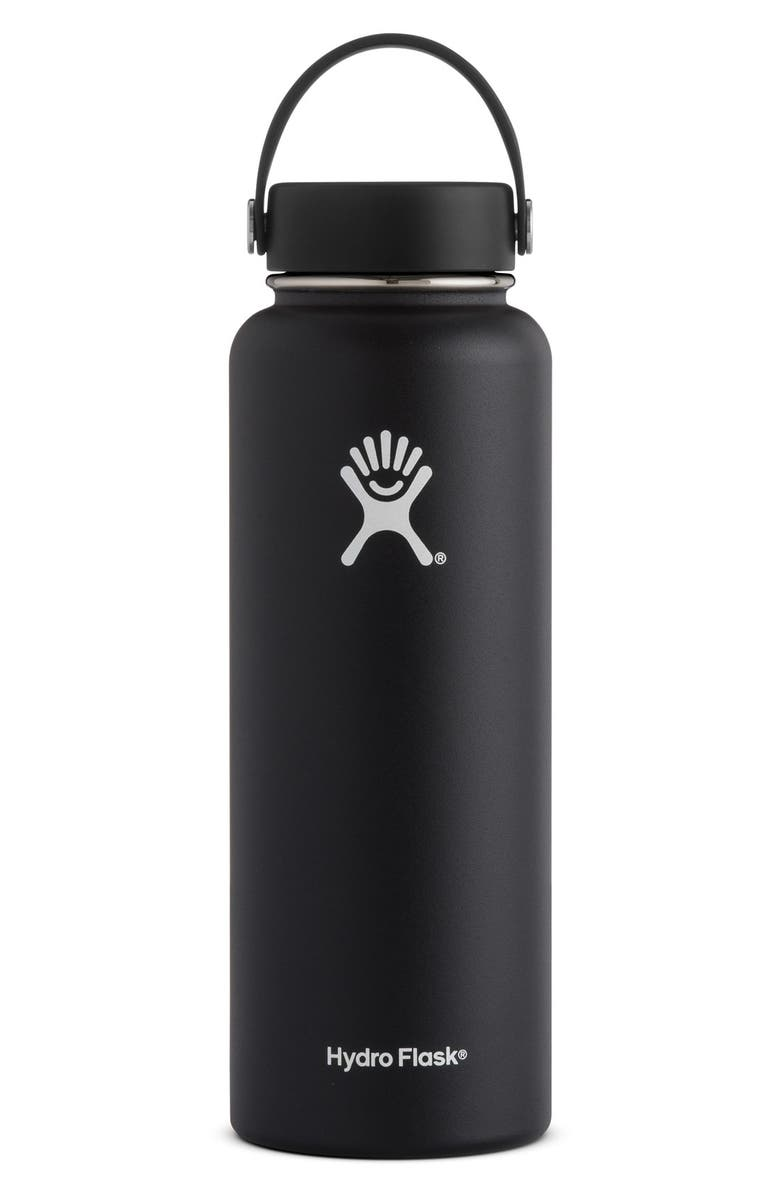 HYDRO FLASK 40-Ounce Wide Mouth Cap Bottle, Main, color, BLACK