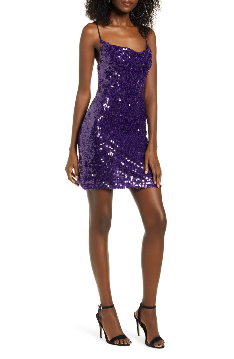WAYF Rocky Sequin Cowl Neck Minidress, Main, color, 500