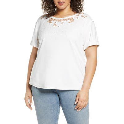 Plus Size Single Thread Embroidered Cutout Sweatshirt, White