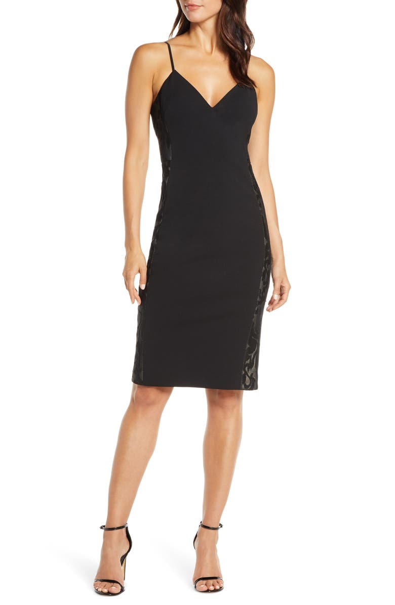 VINCE CAMUTO Lace Trim Sheath Dress, Main, color, BLACK