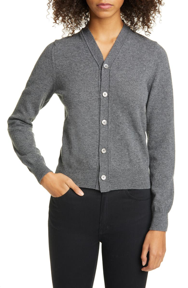COMME DES GARÇONS Wool V-Neck Cardigan, Main, color, GREY