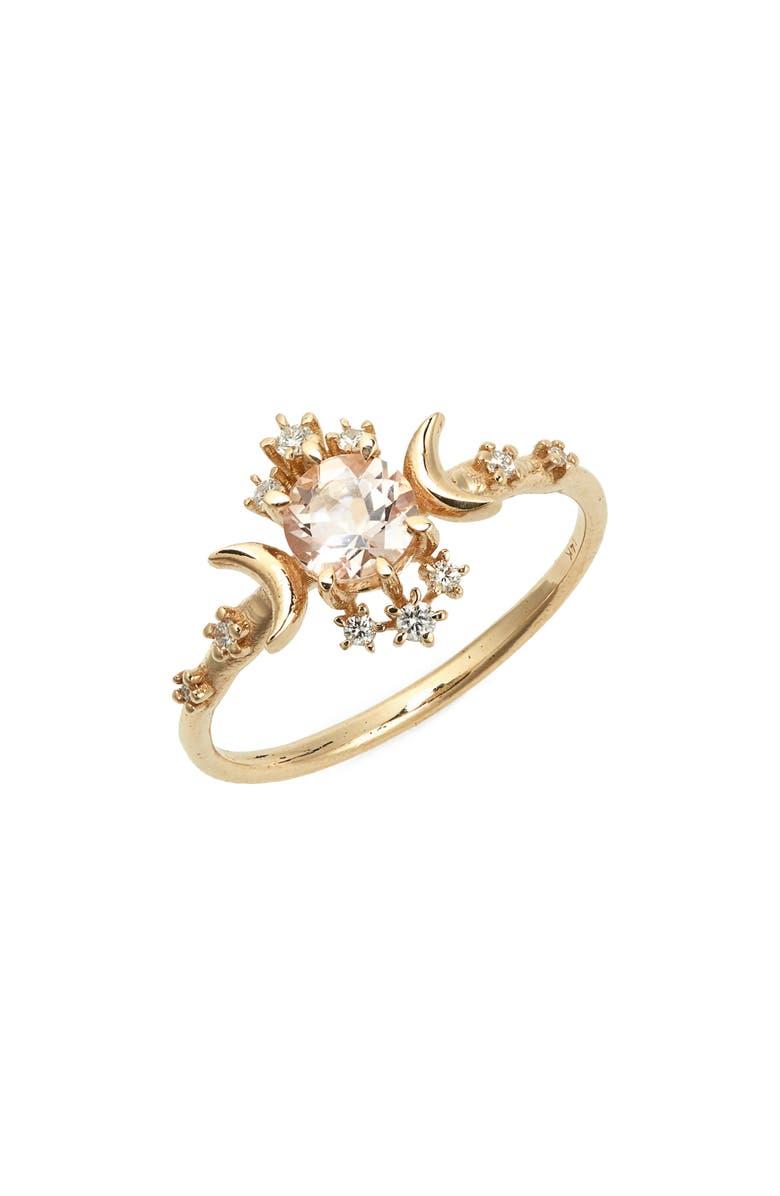 SOFIA ZAKIA Morganite Wandering Star Ring, Main, color, GOLD