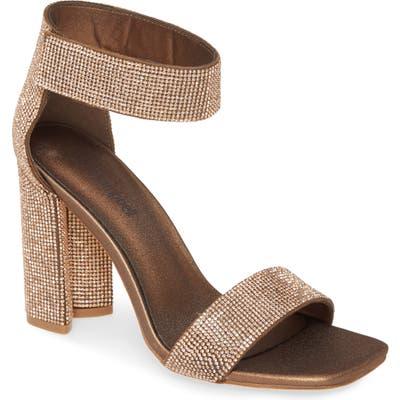 Jeffrey Campbell Lorena Embellished Ankle Strap Sandal- Metallic