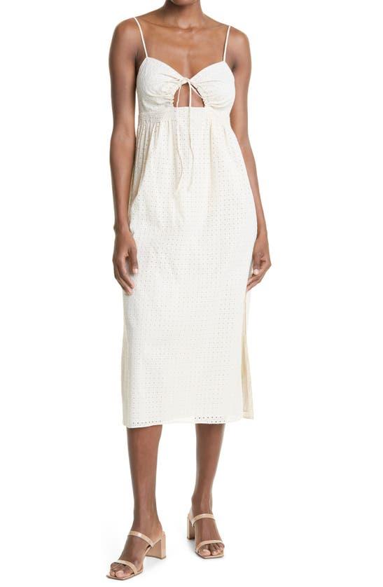 Rebecca Taylor Sleeveless Embroidered Midi Dress In Papier Mache