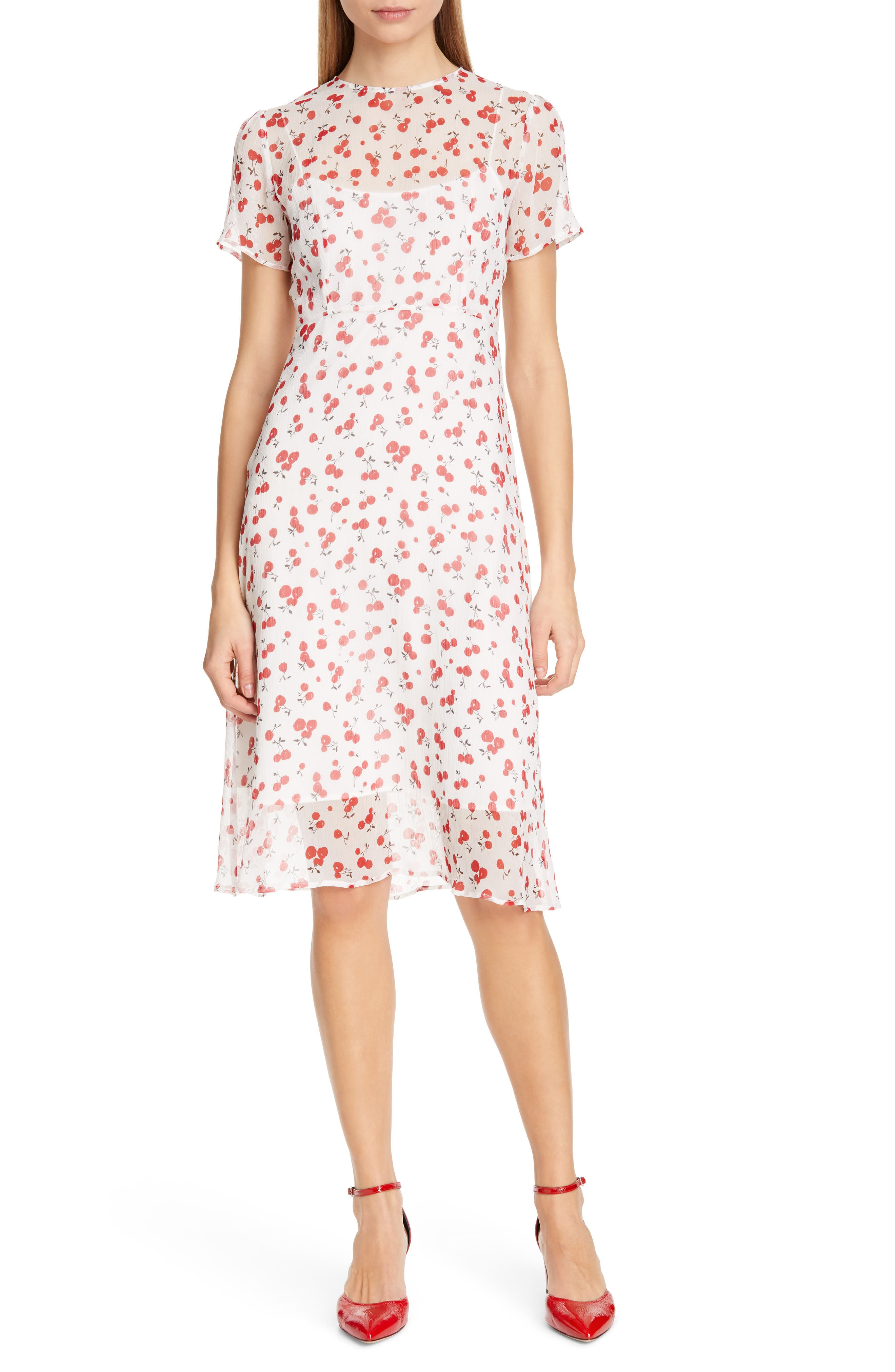 Hvn Lindy Cherry Print Silk Chiffon Dress, White