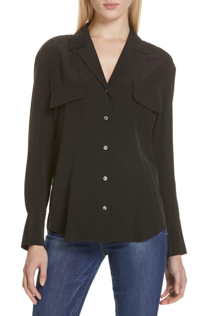 FRAME Pocket Silk Blouse, Main, color, BLACK