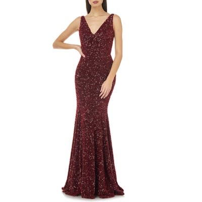 Carmen Marc Valvo Infusion Sequin V-Neck Mermaid Gown, Burgundy
