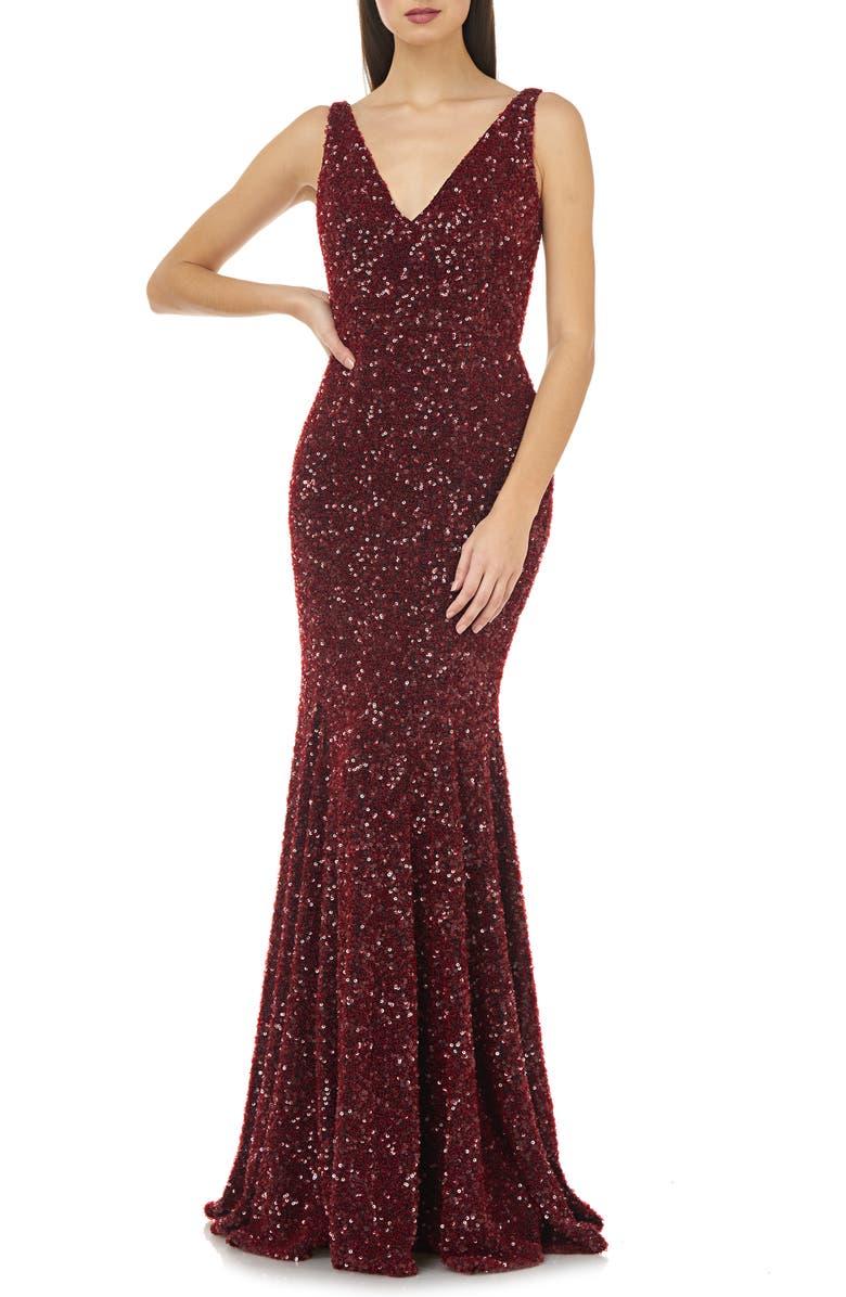 CARMEN MARC VALVO INFUSION Sequin V-Neck Mermaid Gown, Main, color, BURGUNDY