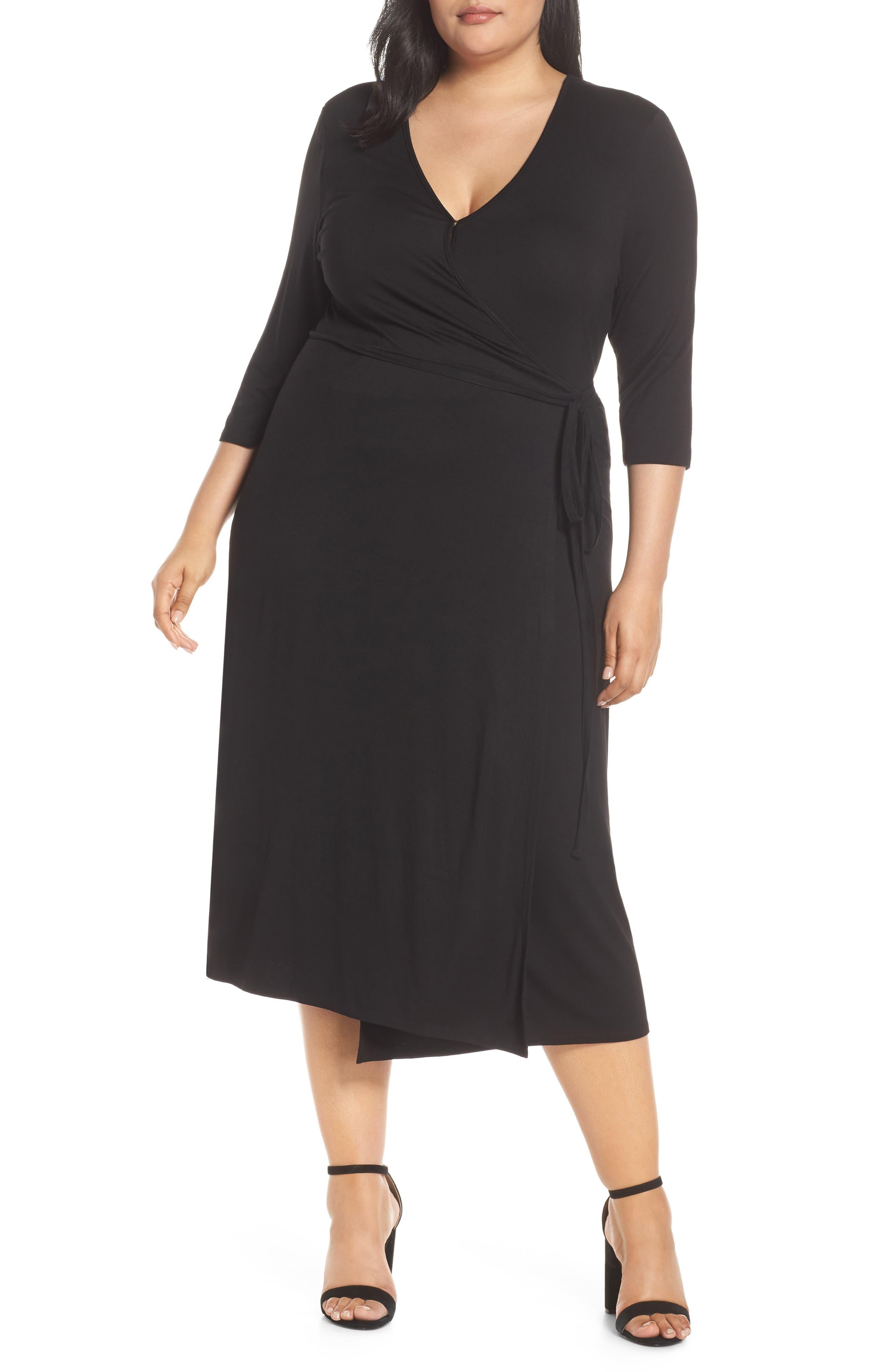 Plus Size Lemon Tart Penni Wrap Midi Dress, Black