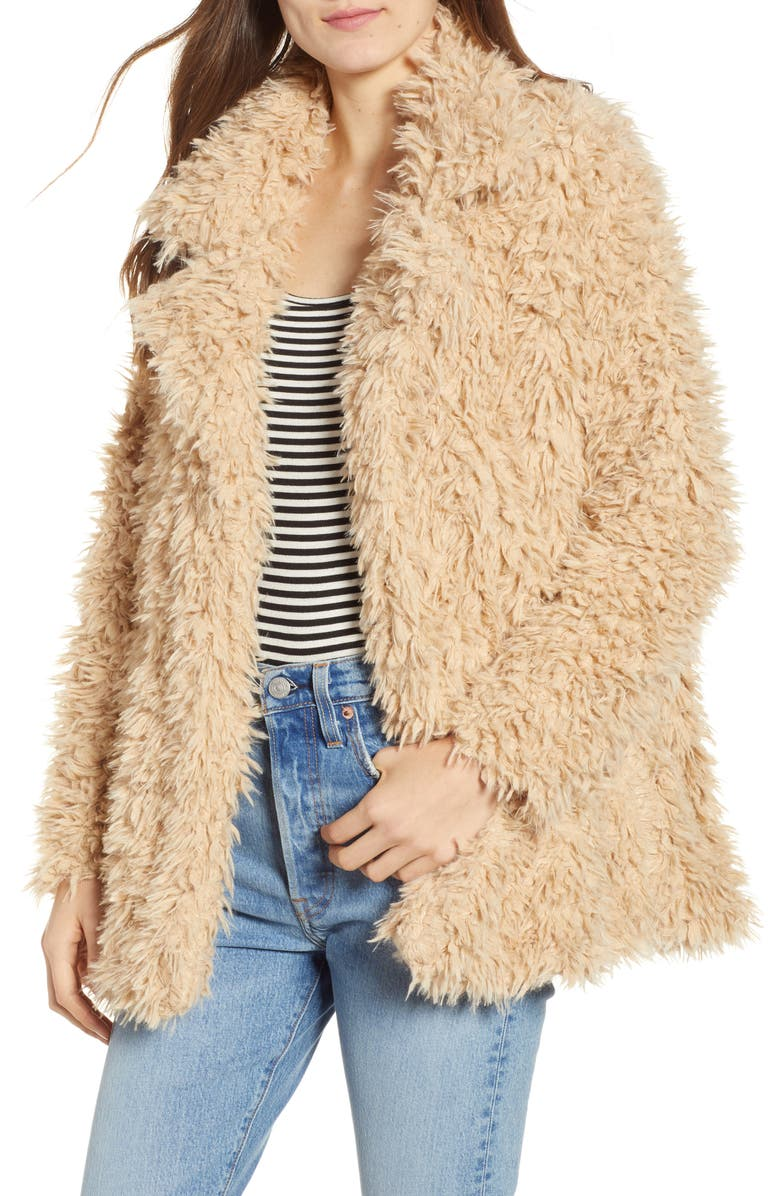 THREAD & SUPPLY Sully Faux Shearling Jacket, Main, color, TOFFEE