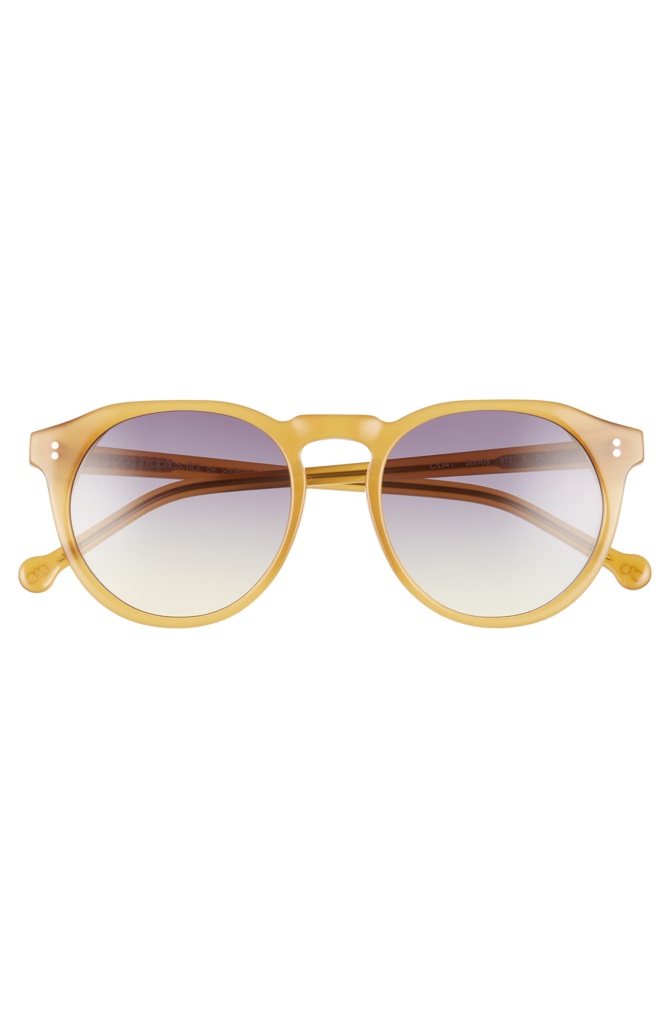 ,                             Sandy 51mm Gradient Round Sunglasses,                             Alternate thumbnail 3, color,                             BUTTERSCOTCH