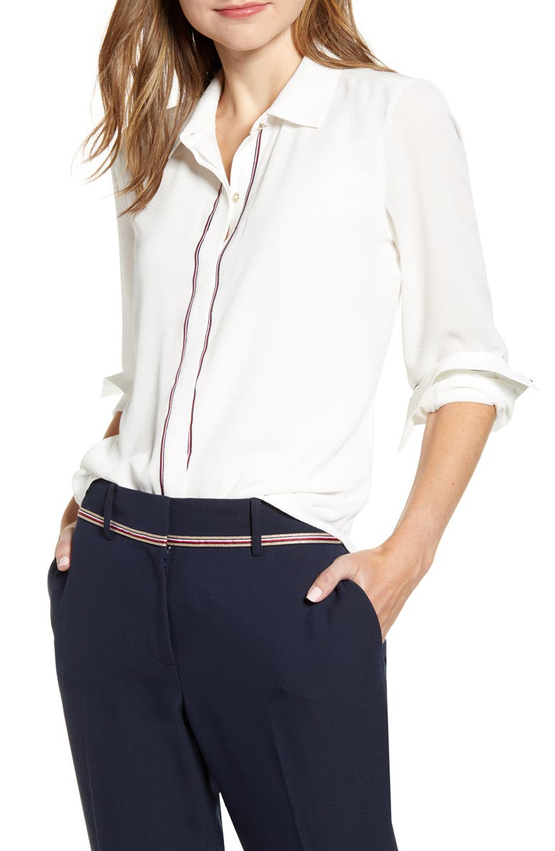 TOMMY HILFIGER Woven Shirt, Main, color, IVORY