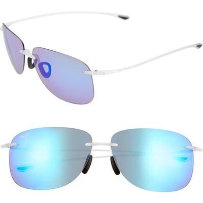 Maui Jim Hikina 62mm Polarizedplus2 Rimless Sunglasses - Blue Hawaii/ Matte Crystal
