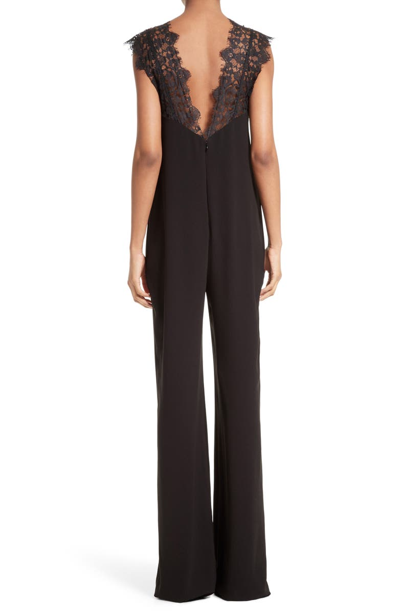 THEORY Zuzanna Wide Leg Crepe Jumpsuit, Main, color, 001