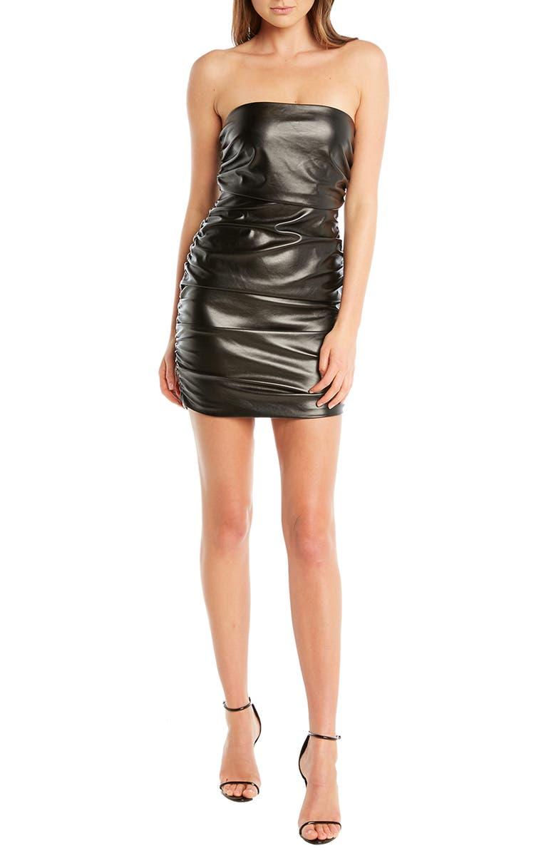 BARDOT Jordyn Strapless Ruched Minidress, Main, color, 040