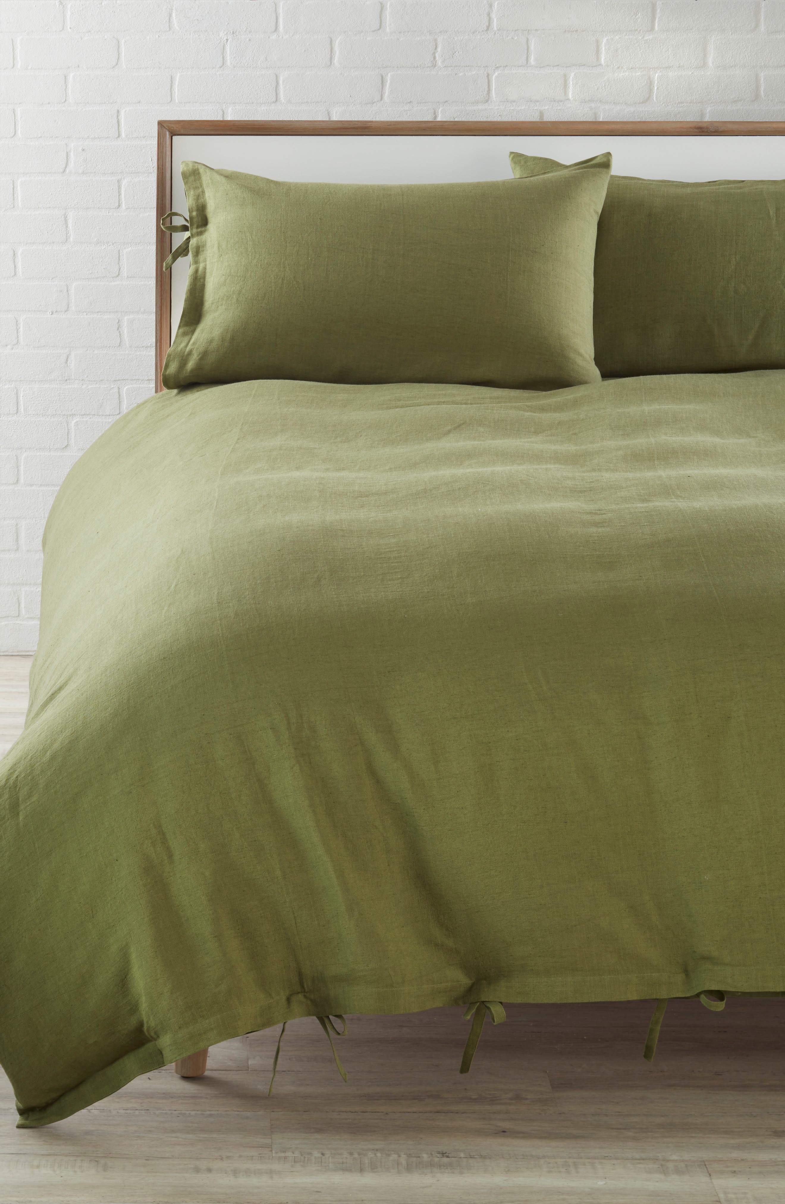 ,                             Relaxed Cotton & Linen Duvet Cover,                             Main thumbnail 1, color,                             OLIVE SPICE