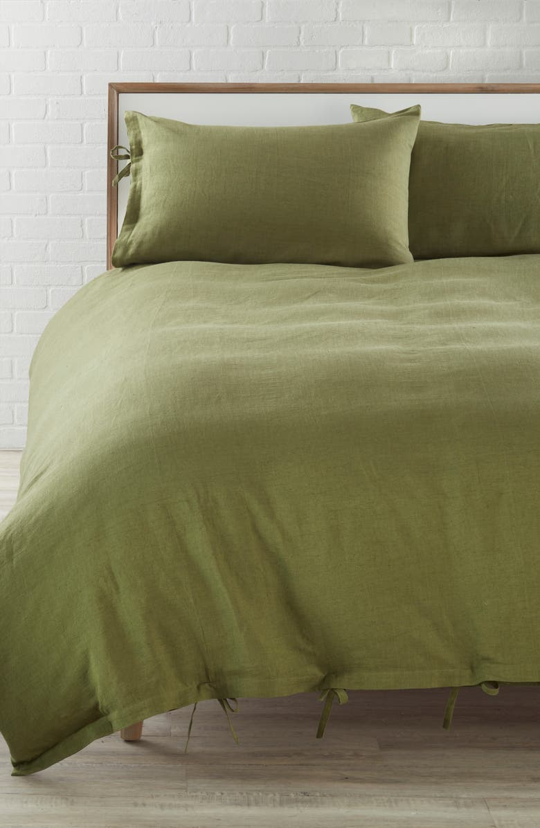 TREASURE & BOND Relaxed Cotton & Linen Duvet Cover, Main, color, OLIVE SPICE