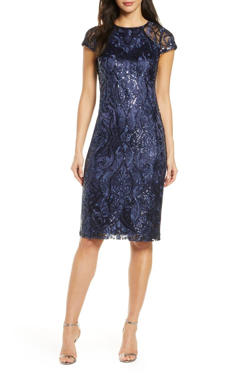 VINCE CAMUTO Cap Sleeve Sequin Sheath Dress, Main, color, NAVY