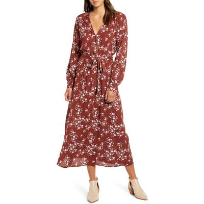 All In Favor Floral Print Long Sleeve Midi Dress, Burgundy