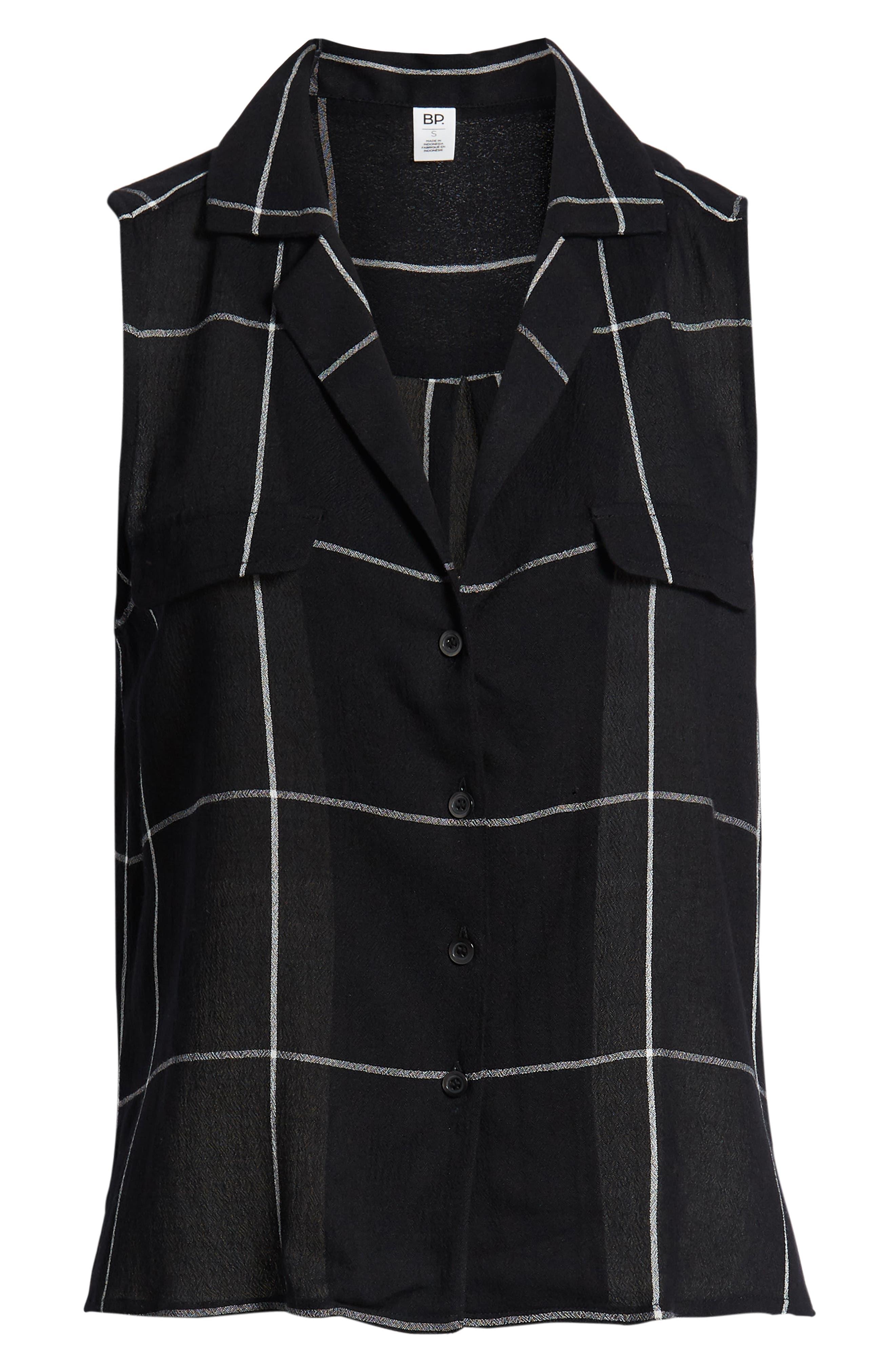 ,                             Sleeveless Shirt,                             Alternate thumbnail 6, color,                             BLACK MAZY WINDOW PANE