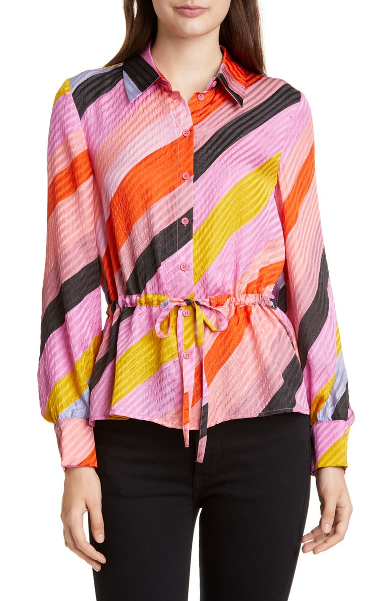 STINE GOYA Faith Tie Waist Silk Shirt, Main, color, PARALLELS