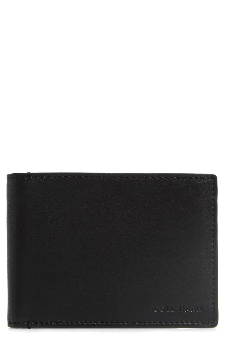 COLE HAAN Hendrix Leather Wallet, Main, color, BLACK
