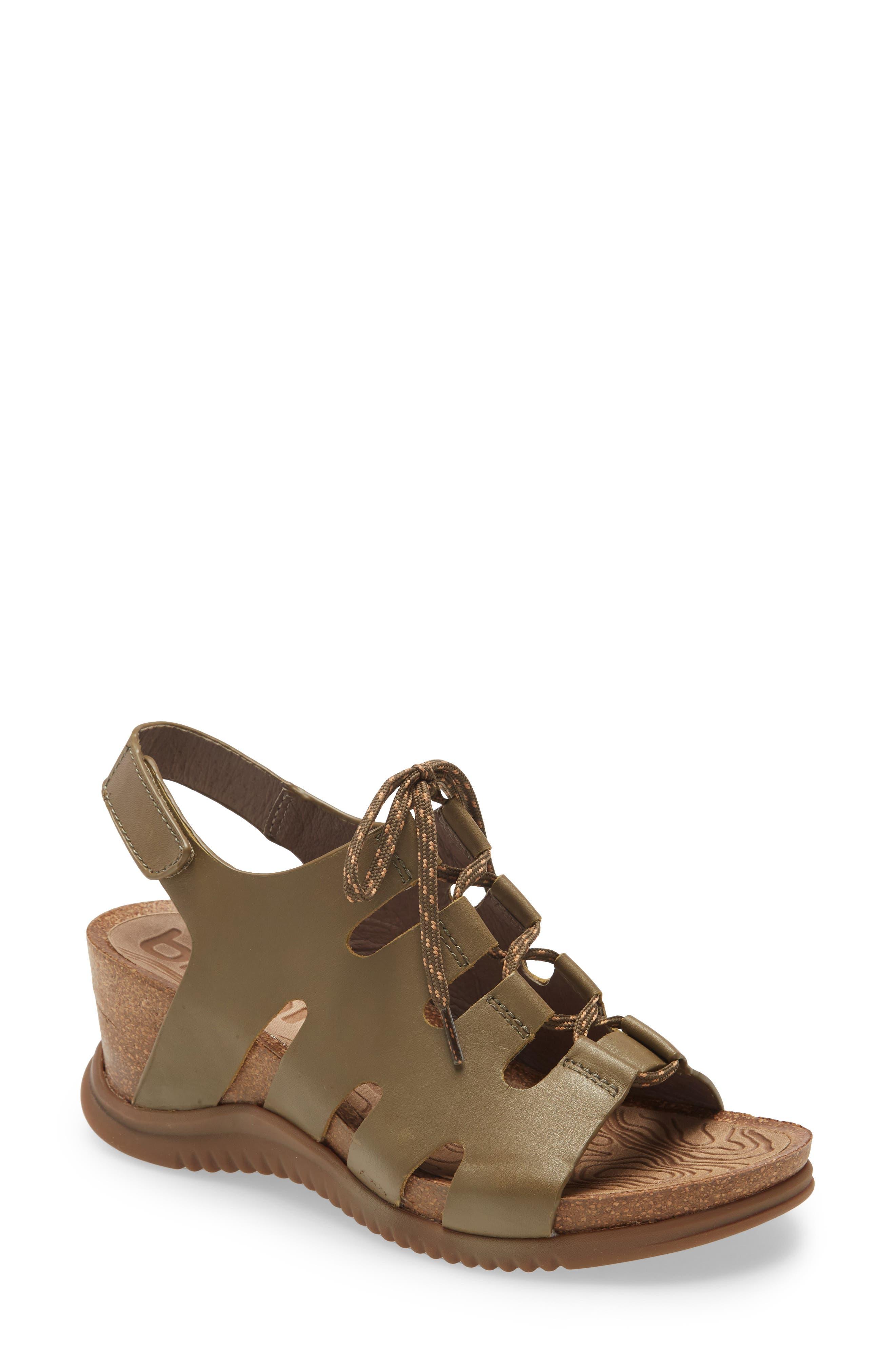 Women's Bionica Sorena Ghillie Wedge Sandal, Size 7 M - Green