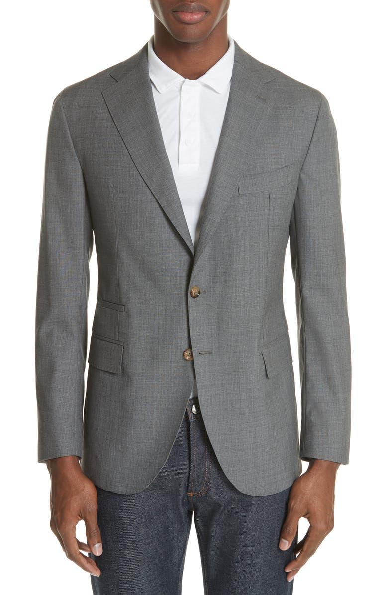 ELEVENTY Slim Fit Wool Blazer, Main, color, GREY MELANGE