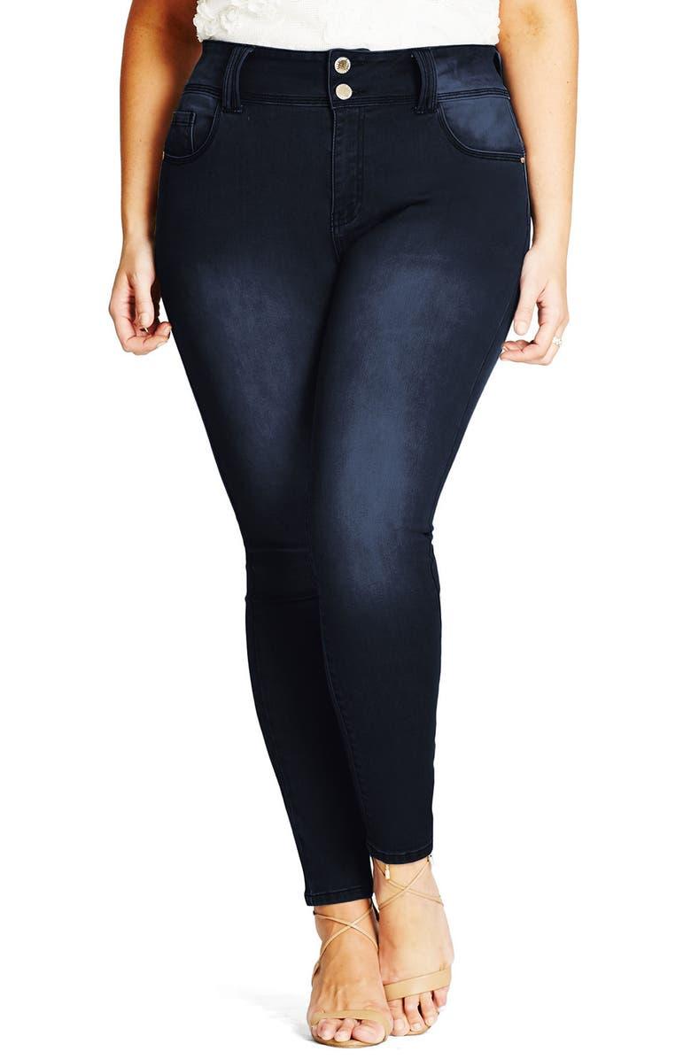 CITY CHIC Asha Skinny Jeans, Main, color, 411