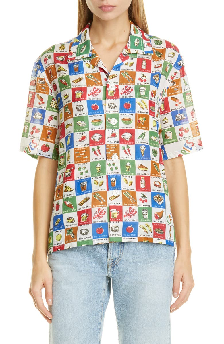 BODE Calorie Print Camp Shirt, Main, color, MULTI