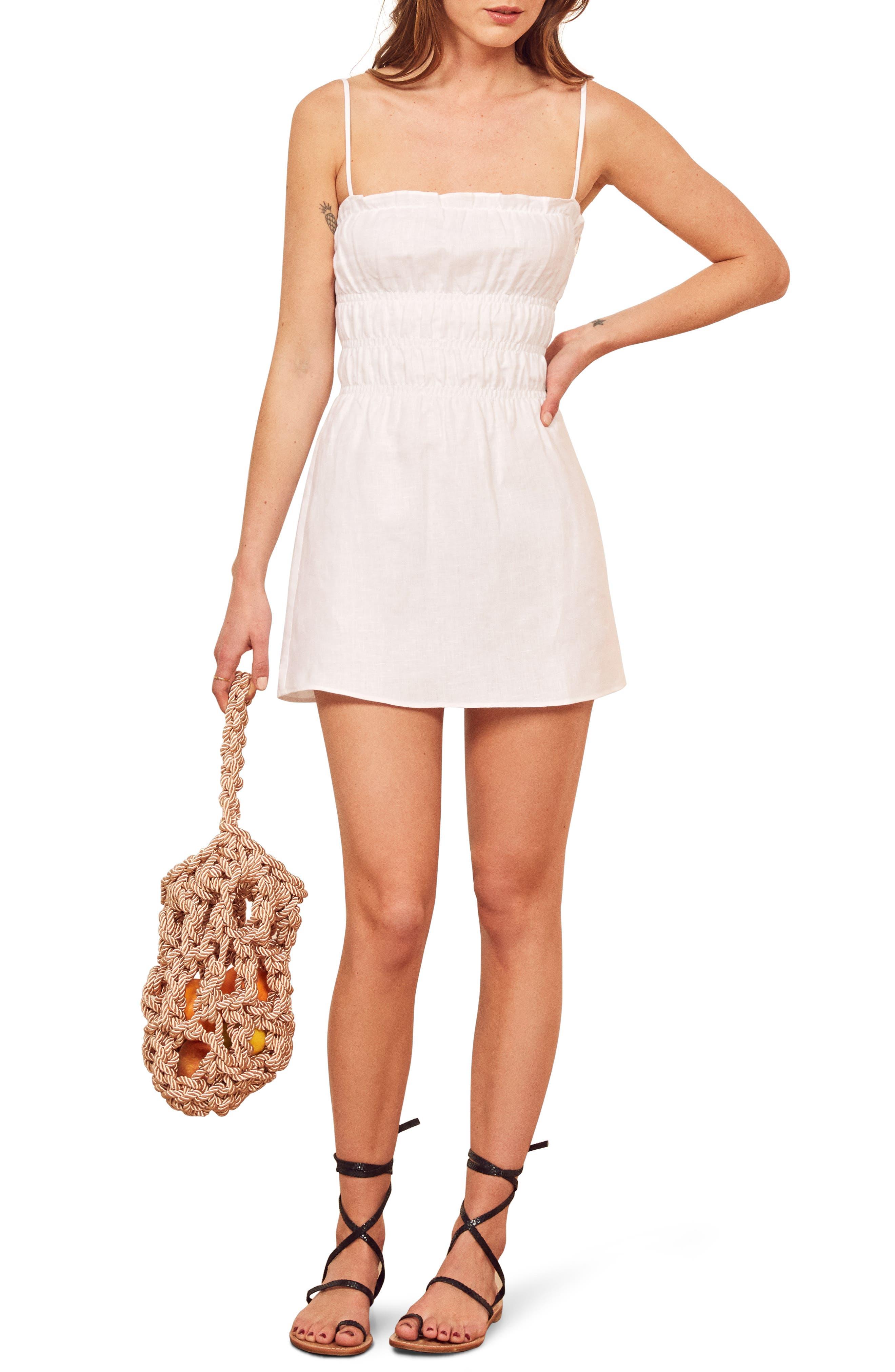 Reformation Tabatha Linen Minidress, White