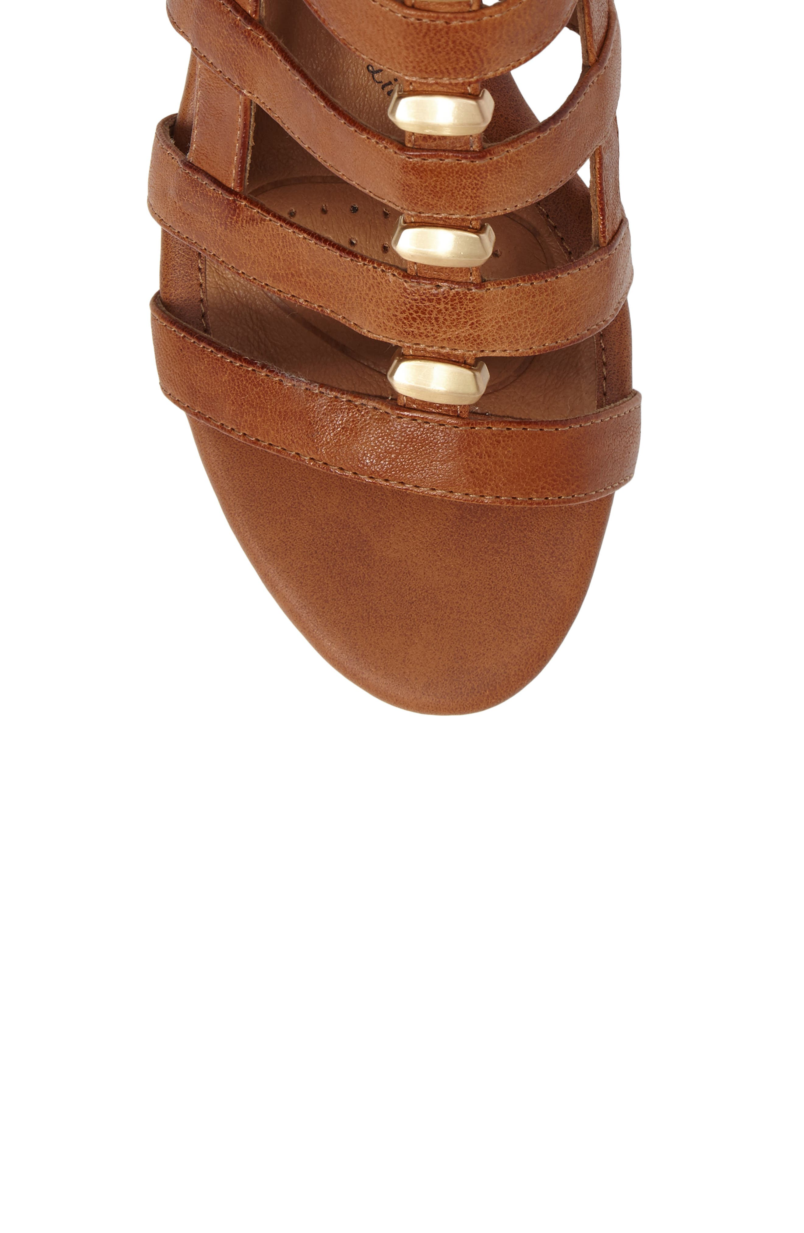 ,                             Rio Gladiator Wedge Sandal,                             Alternate thumbnail 5, color,                             LUGGAGE LEATHER