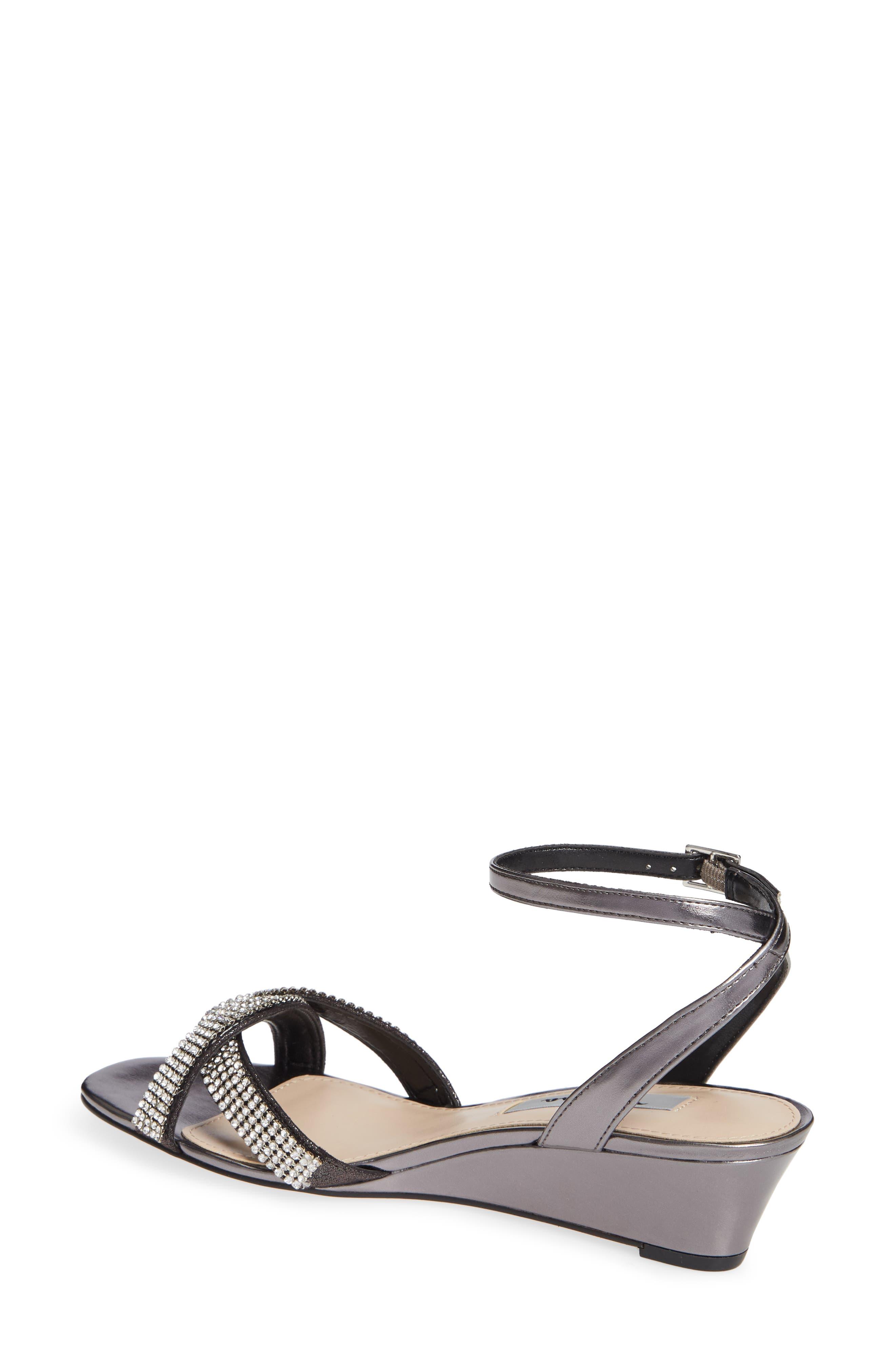 ,                             Florina Crystal Embellished Wedge Sandal,                             Alternate thumbnail 2, color,                             METALLIC GUNMETAL